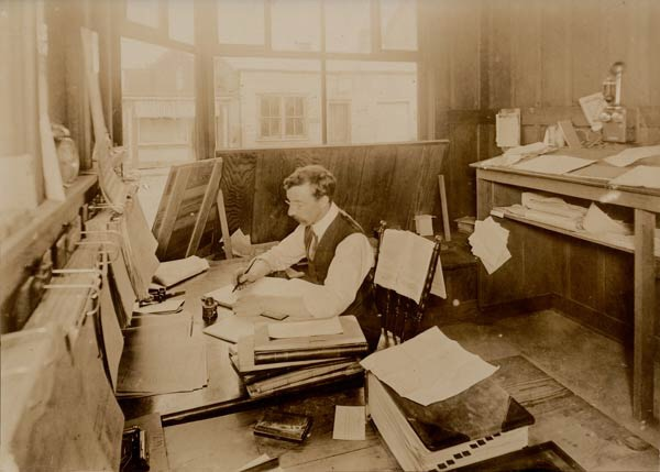 Cowichan Leader office ca 1910. From Cowichan Valley Museum Archives.